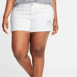 Mid-Rise Distressed Boyfriend Plus-Size Jean Short